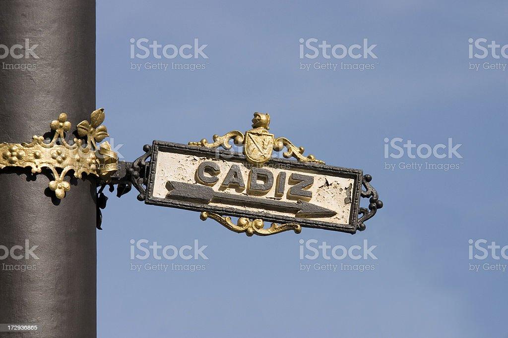 Cadiz Signpost royalty-free stock photo