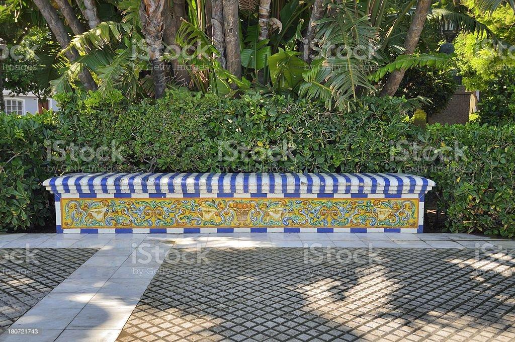 Cadiz Tiled Park Bench royalty-free stock photo