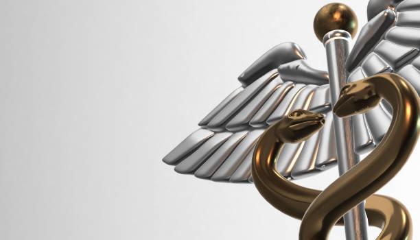 caduceus - medical symbol, 3d render - caduceus stock pictures, royalty-free photos & images