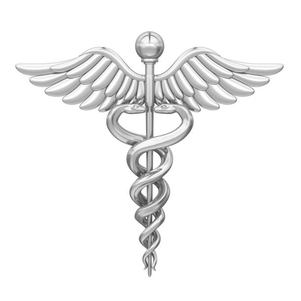 caduceus medical symbol isolated - caduceus stock pictures, royalty-free photos & images