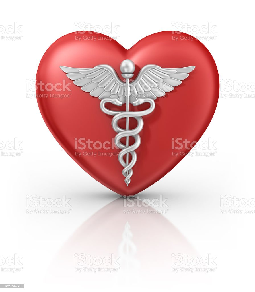 caduceus on heart royalty-free stock photo