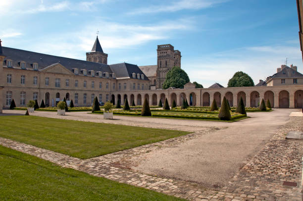 caen abbey to the ladies - caen stock pictures, royalty-free photos & images