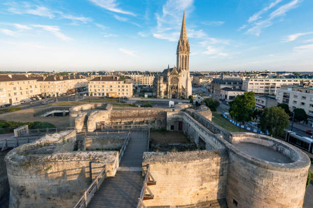 caen, castle and church - caen stock pictures, royalty-free photos & images