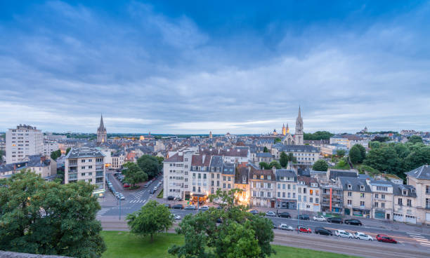 caen, france. aerial cityscape at dusk - caen stock pictures, royalty-free photos & images