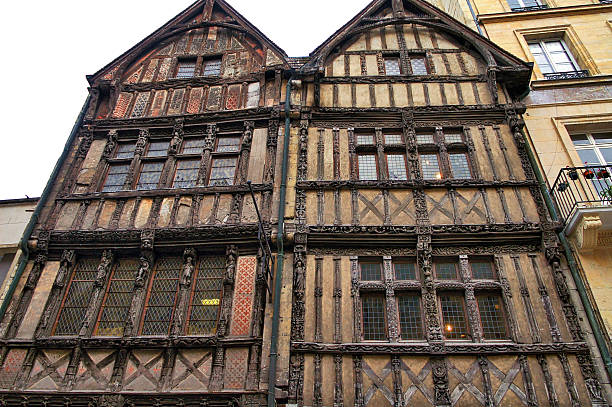 caen: half-timbered house - caen stock pictures, royalty-free photos & images