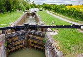 Caen Hill Locks on Kennet and Avon Canal near Devizes in Wiltshire South West England UK