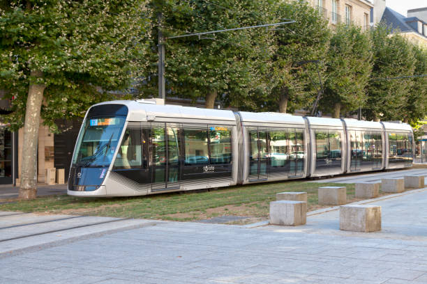 Caen tram stock photo