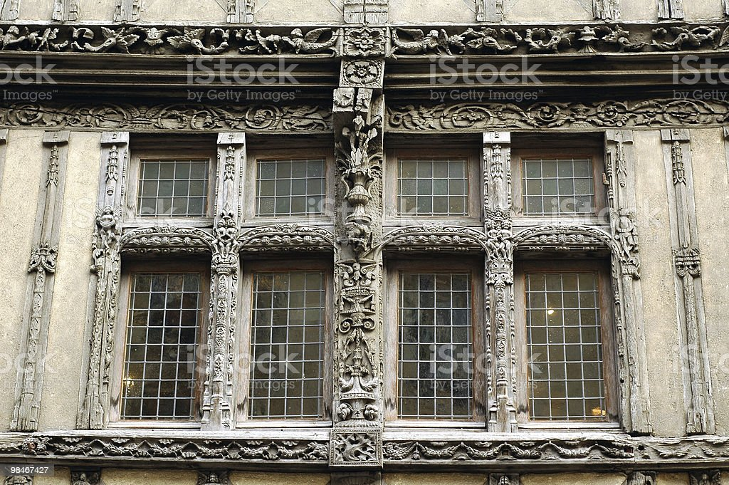 Caen (Calvados, Normandy, France): Window of historic building royalty-free stock photo