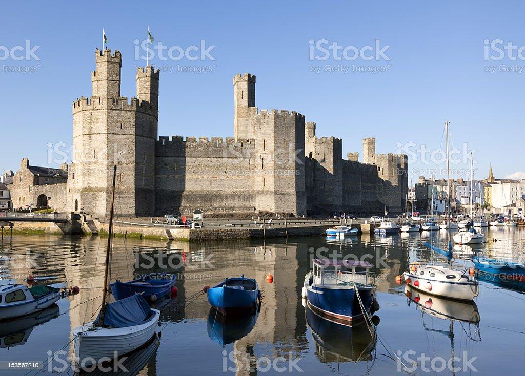 Caernarfon Castle and marina stock photo