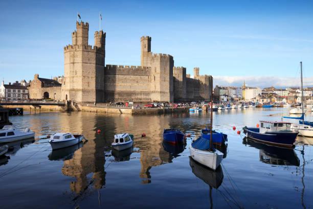 Caernarfon Castle Gwynedd North Wales UK stock photo