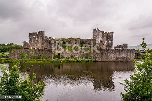 A historic stone, medieval castle located in Wales, the largest castle and the second largest in England.
