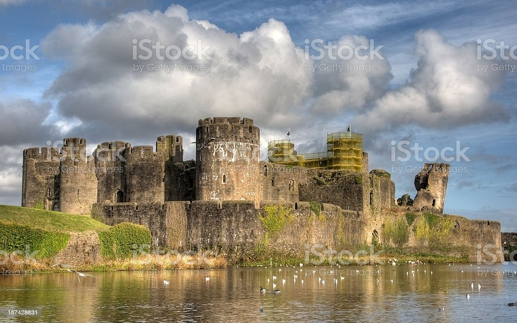 Caerphilly Castle clouds royalty-free stock photo