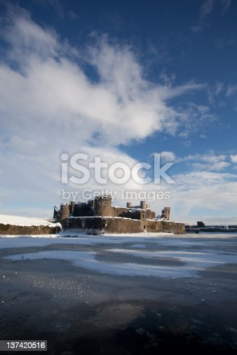 Caerphilly Castle on a snowy day