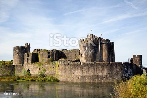 Caerphilly, UK: September 23, 2017: Caerphilly Castle was constructed by Gilbert de Clare in the 13th century as part of his campaign to conquer Glamorgan, and saw extensive fighting between Gilbert and his descendants and the native Welsh rulers it occupies around 30 acres and is the second largest castle in Britain.