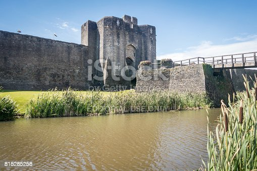 Caerphilly, Wales, UK, August 02, 2015, Caerphilly castle, Wales, with the moat in the foreground