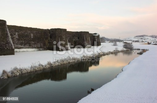 Caerphilly Castle in South Wales. Taken in the snow of March 2005. A great back drop for a Christmas card maybe?