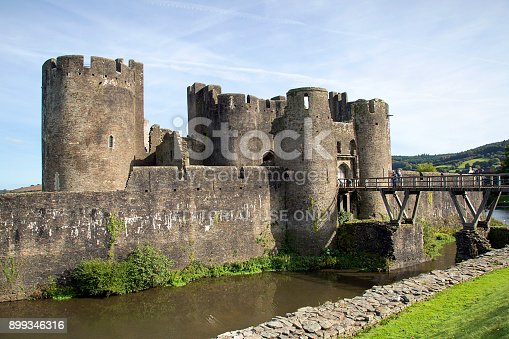 Caerphilly, Wales, UK: September 23, 2017: Caerphilly Castle was constructed by Gilbert de Clare as part of his campaign to conquer Glamorgan. It is the second largest castle in Britain occupying approximately 30 acres.