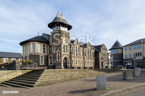 Caerphilly, UK: September 23, 2017: Caerphilly Town Community Centre is available to hire for events. It was opened in 1959 and is of traditional build with many rooms and a clock tower.