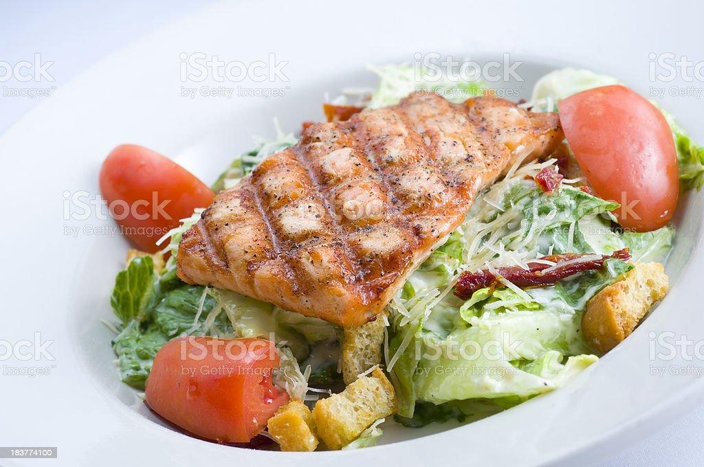 Caesar Salad Grilled Salmon stock photo