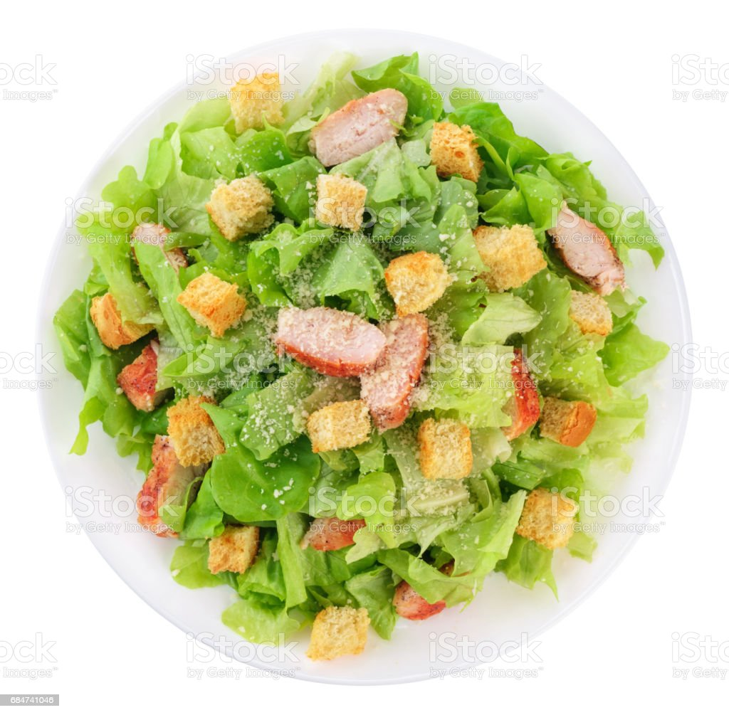 Caesar salad on white background. stock photo