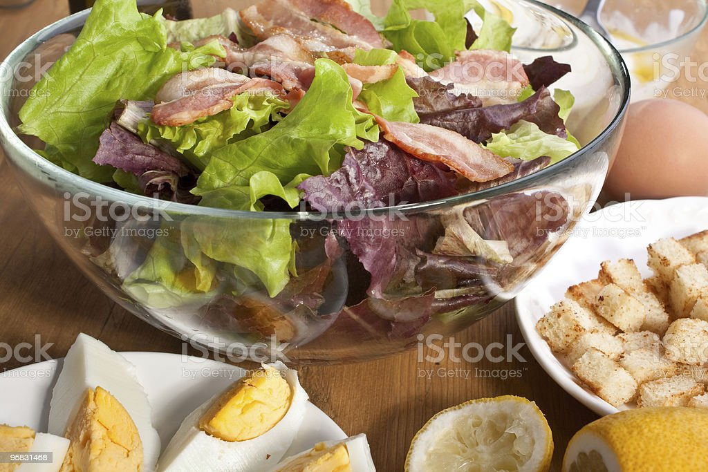 caesar salad with bacon and eggs royalty-free stock photo