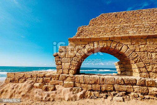 Aqueduct brought running water to the old city of Caesarea, along a raised aqueduct. The source of the water was the springs of Shummi. Herod build the aqueduct in the 1st C BC. Image taken with Nikon D800 and 16-35 lens, developed from RAW. Location: Caesarea, near Tel Aviv, Israel