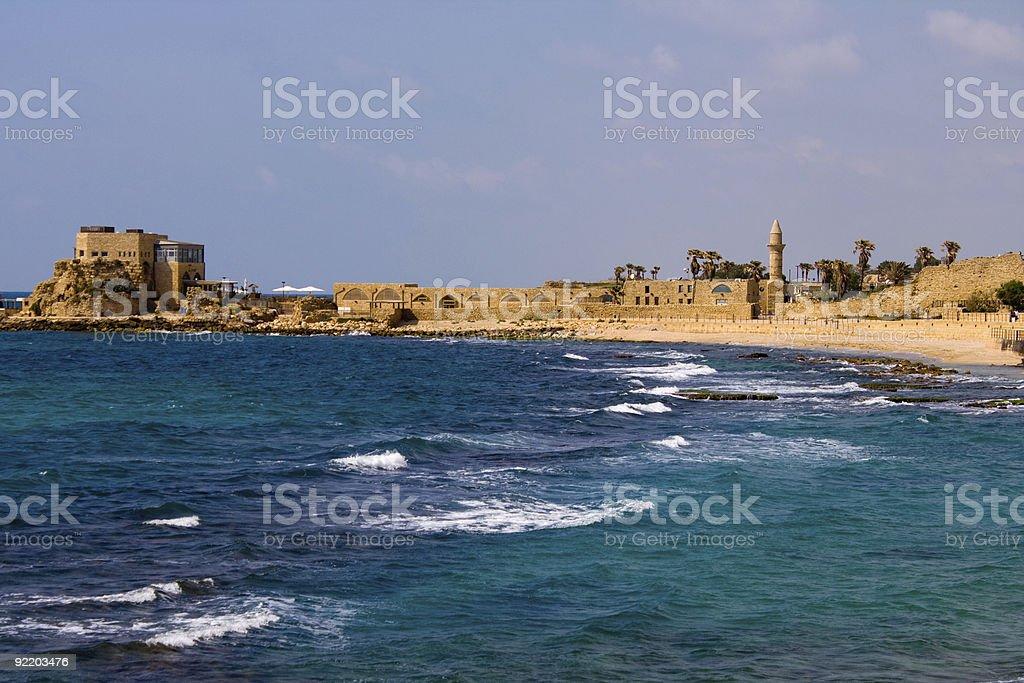 Caesarea sea view stock photo