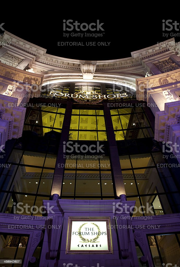 Caesars Palace Forum Shops Nighttime stock photo