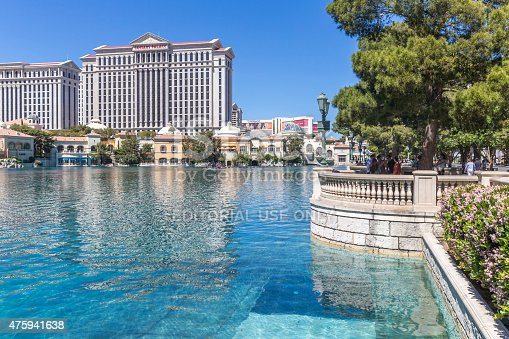 Las Vegas, NV, USA - March 27, 2015: The Caesars Palace hotel and casino on the Las Vegas Strip. The Las Vegas strip is home to most of the world's largest hotels and casinos.