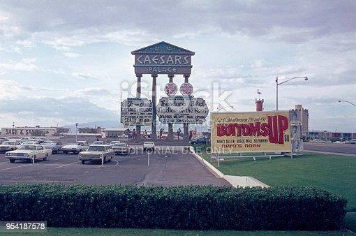 Las Vegas, Nevada, USA, 1968. Caesar's Palace advertising sign at the hotel parking lot on the Las Vegas Strip.