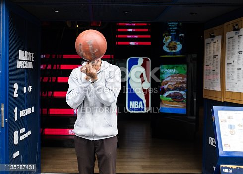 Barcelona, Spain - February 20, 2019: The first official restaurant of the NBA in Europe in the epicenter of the city of Barcelona, in Las Ramblas, 120. Located on three floors of a spectacular and historic neoclassical building overlooking the Ramblas, in a unique area of the city, to be able to live and enjoy an authentic NBA experience. A menu based on the best recipes of American cuisine, with oriental and Mexican influences, quality products and delicious sauces.