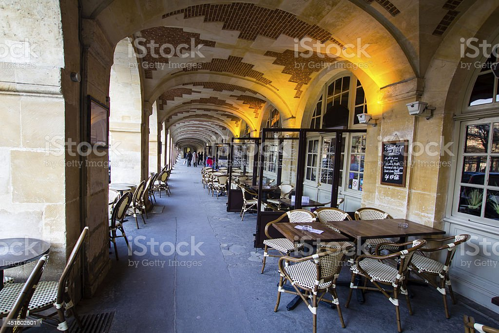 Café in the Place de Vosges, Paris stock photo