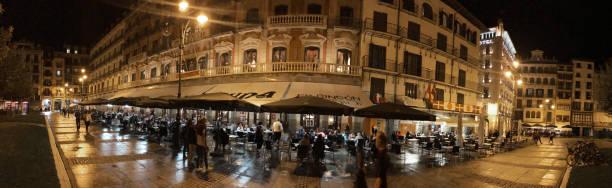 Café Iruna Pamplona Panoramic view stock photo