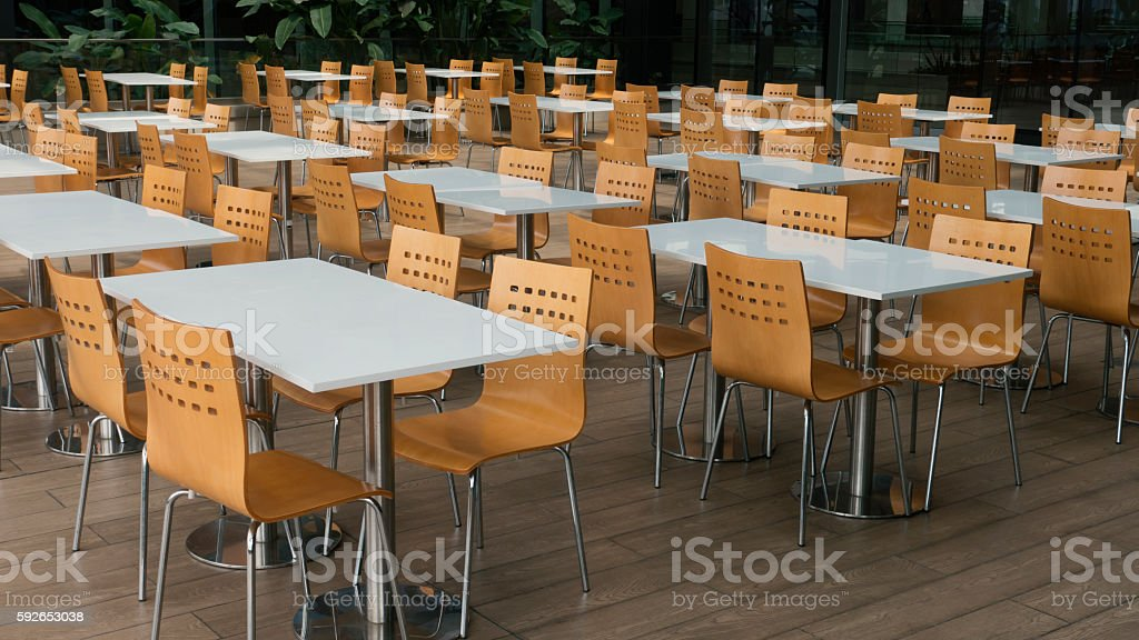 Cafateria Foodcourt Chairs and Tables stock photo