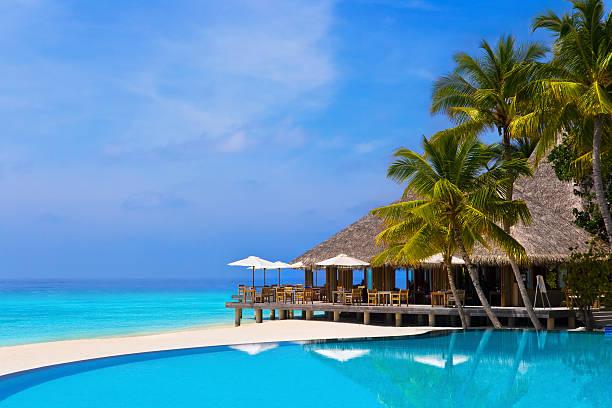 café und pool auf einem tropischen strand - strohdach stock-fotos und bilder