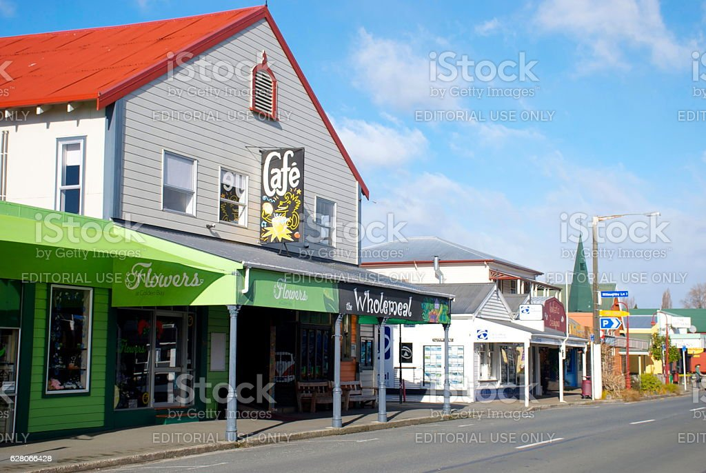 Cafe and Shop in Takaka, Golden Bay, New Zealand stock photo