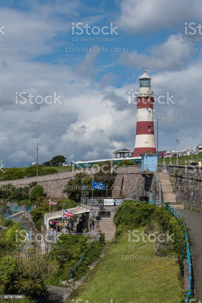 Cafe and Smeaton's Tower Lighthouse in Plymouth stock photo
