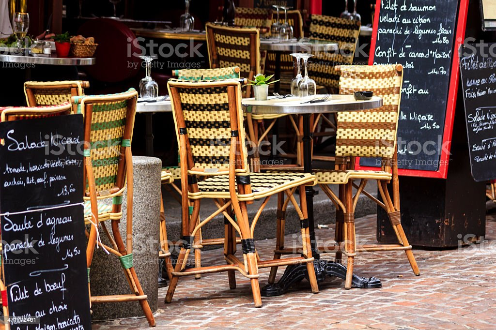 Cafe at rue Mouffetard in Paris stock photo