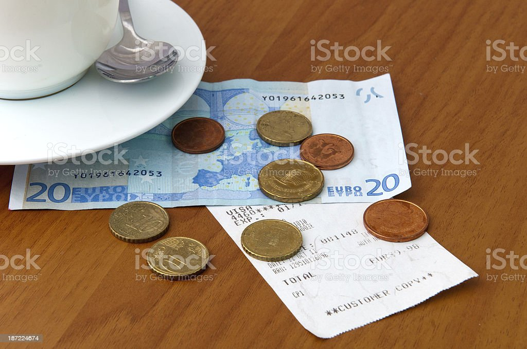 Cafe bill and money royalty-free stock photo
