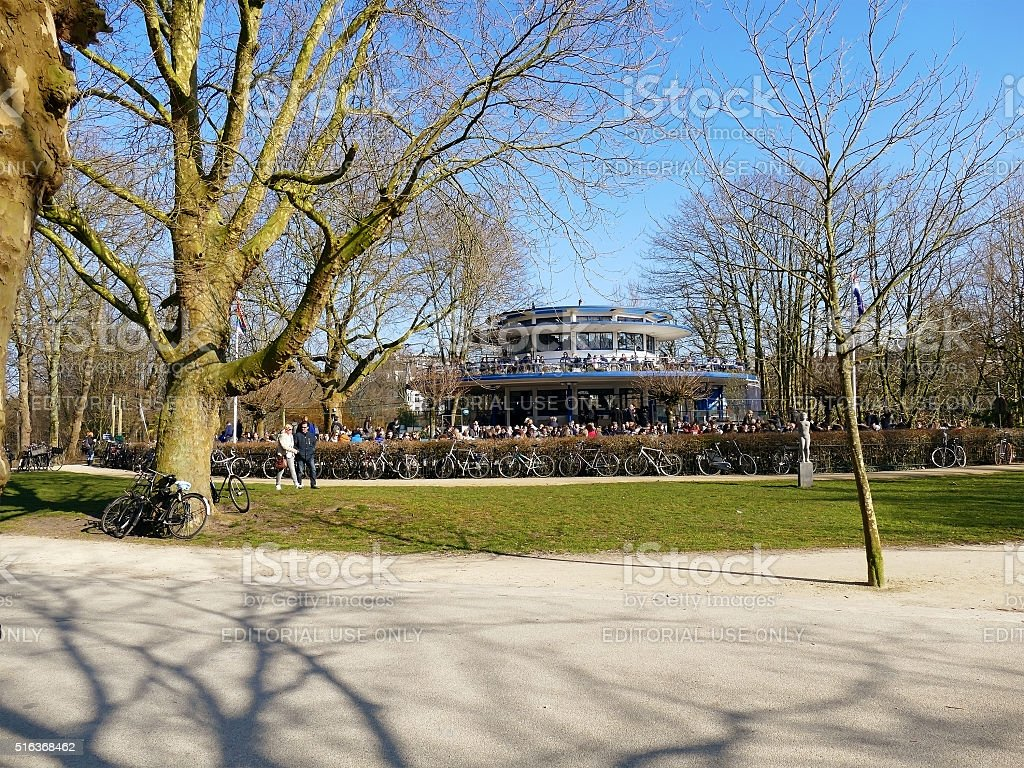 Amsterdam, The Netherlands - March 13, 2016: Cafe Blauwe theehuis stock photo