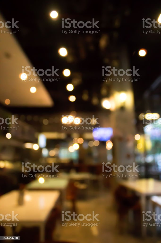 Cafe blur background with bokeh.Restaurant abstract defocused. stock photo