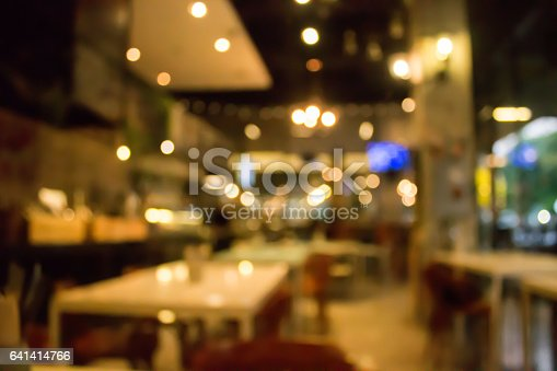 istock Cafe blur background with bokeh.Restaurant abstract defocused. 641414766
