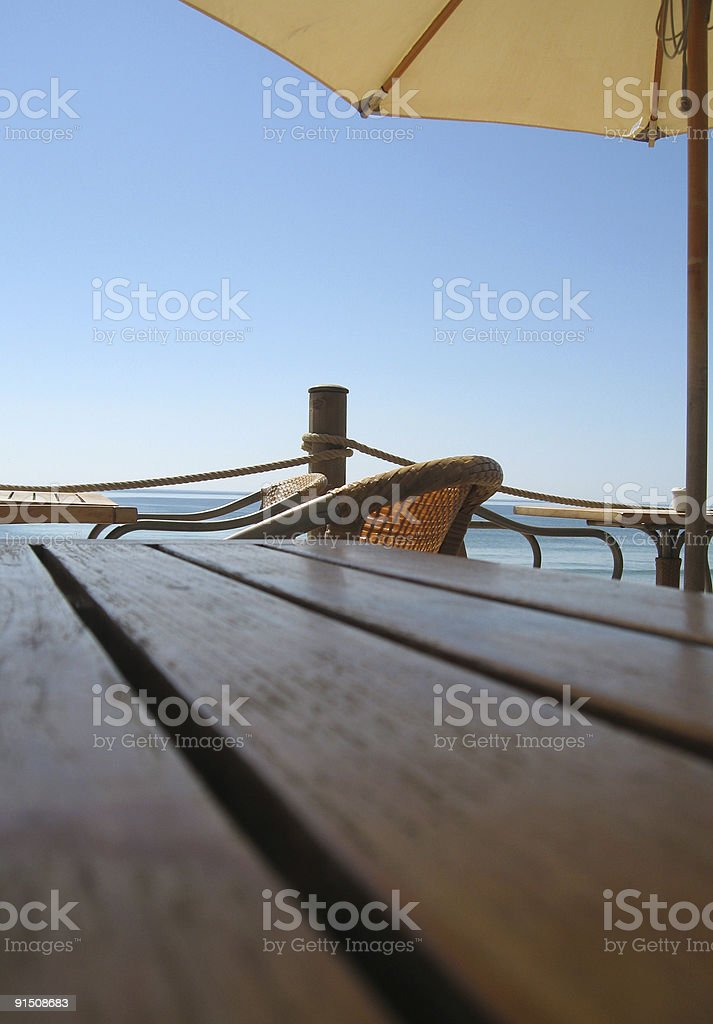 Cafe by the sea royalty-free stock photo