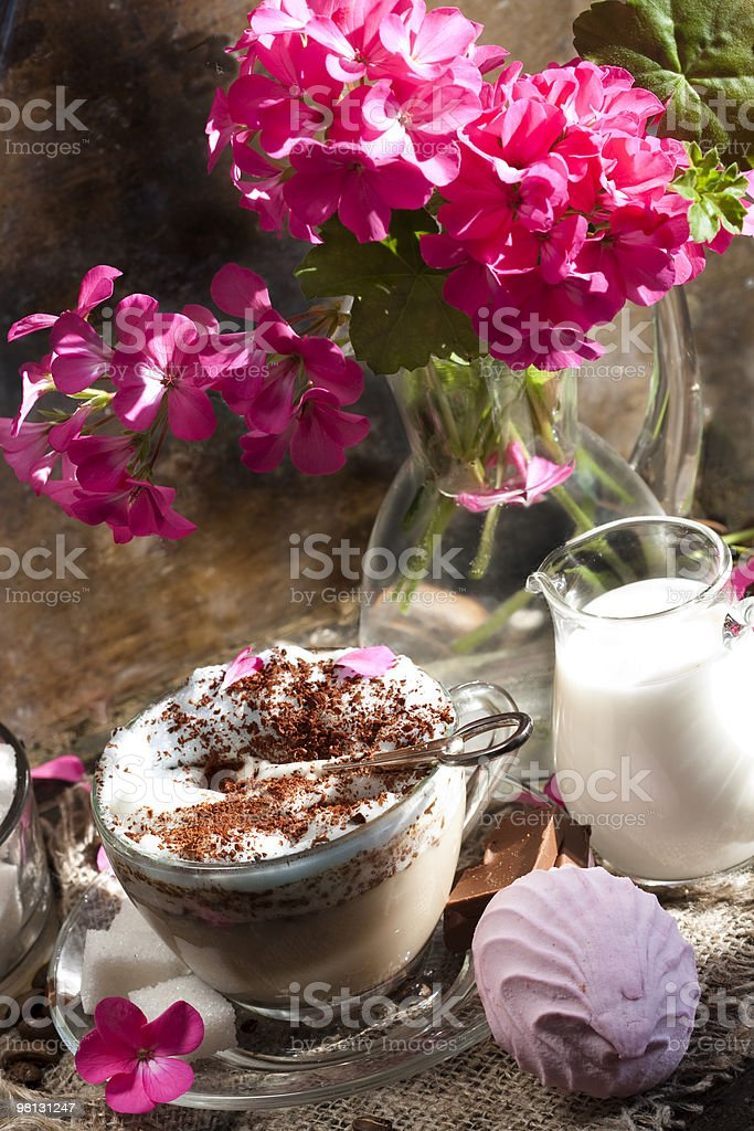 cafe cappuccino and pink flowers royalty-free stock photo