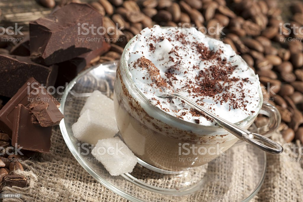 cafe cappuccino with chocolate royalty-free stock photo