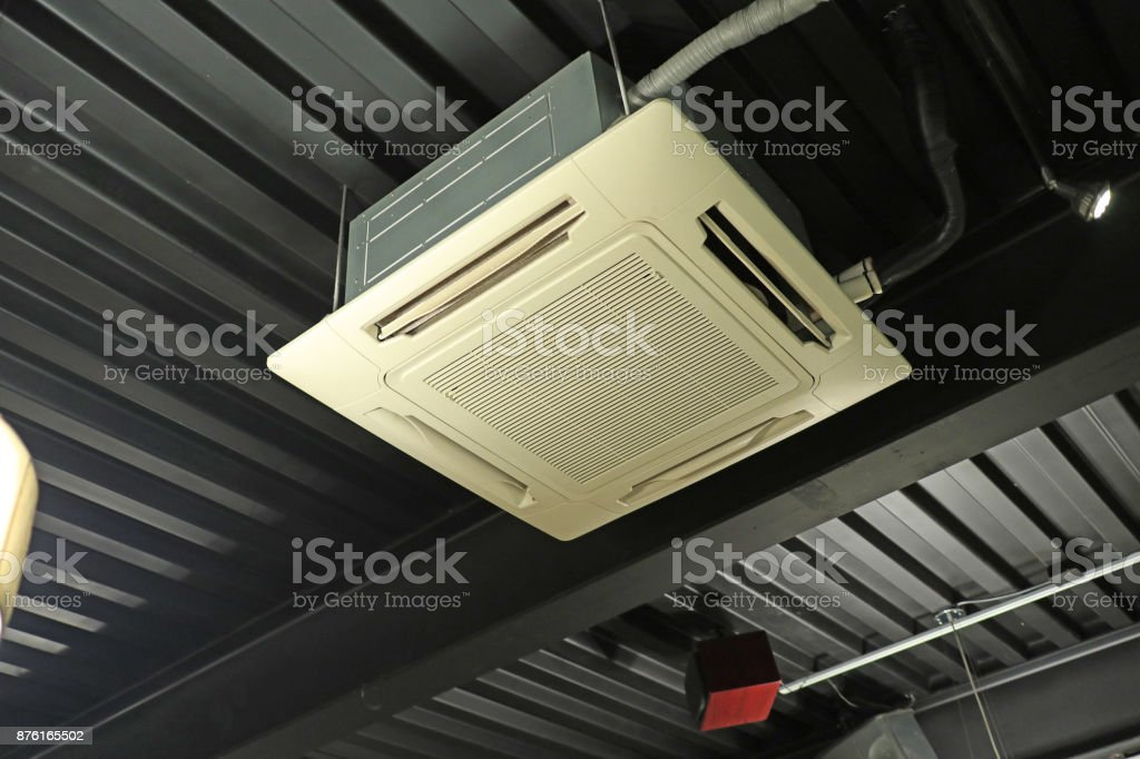 cafe Ceiling Air Conditioning System stock photo