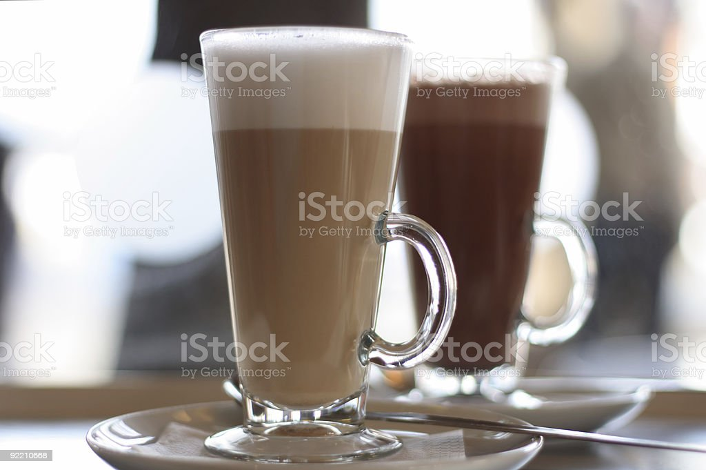 Cafe Coffee - Latte Cappuccino in a tall glass royalty-free stock photo