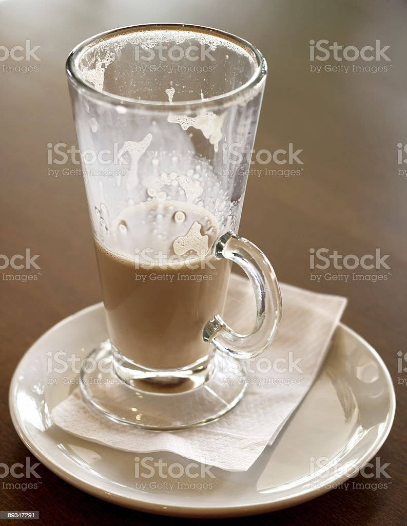 Cafe Coffee - Latte Tall Glass Half Emptied royalty-free stock photo