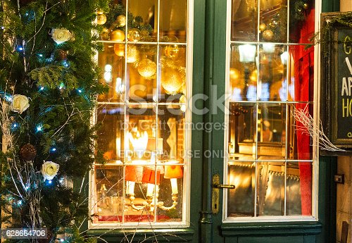 877010878 istock photo Cafe decorated for Christmas holiday 628664706