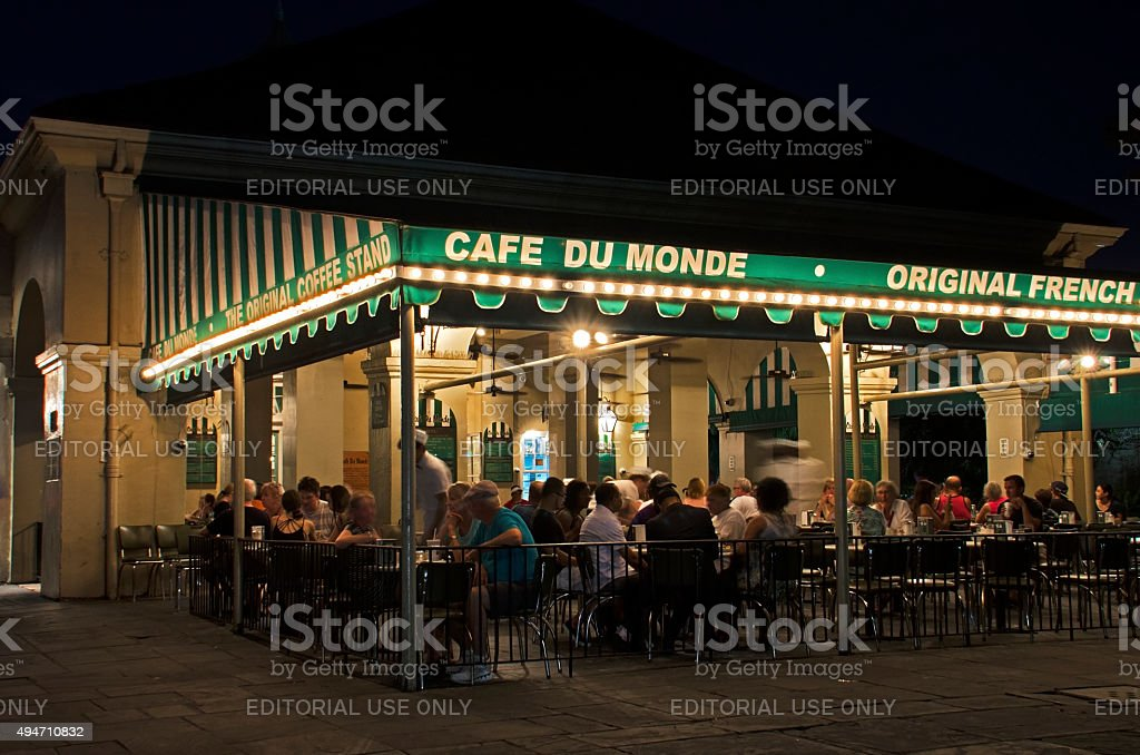 Cafe Du Monde at Night in New Orleans, Louisiana stock photo